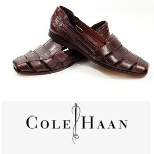 Cole Haan Mens Leather Woven Brown Slip On Size 10